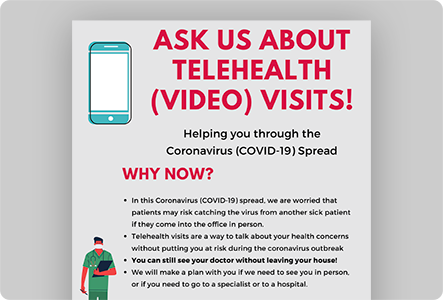 Ask Us About Telehealth Graphic