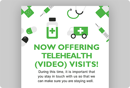 Now Offering Telehealth Graphic